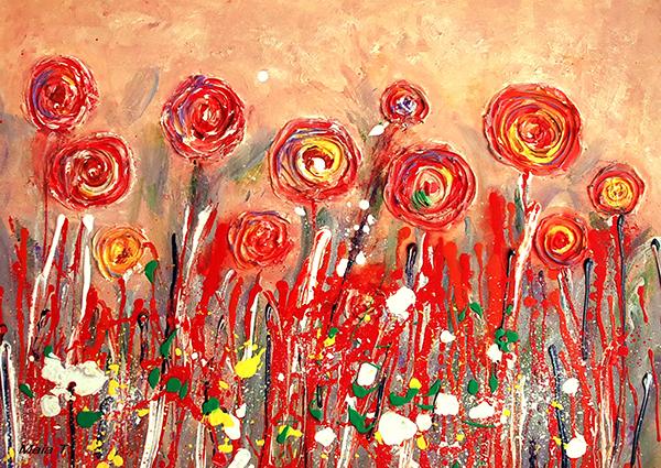 Flori, 2015 , acril pe panza